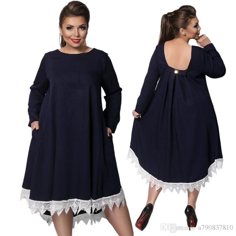 Plus Taille L-6XL 2017 NOUVEAU Robe Robe Robe Robe Robe, Printemps et Automne Pure Fashion Pure Robe élégante NYC404 Outlet usine Grossiste