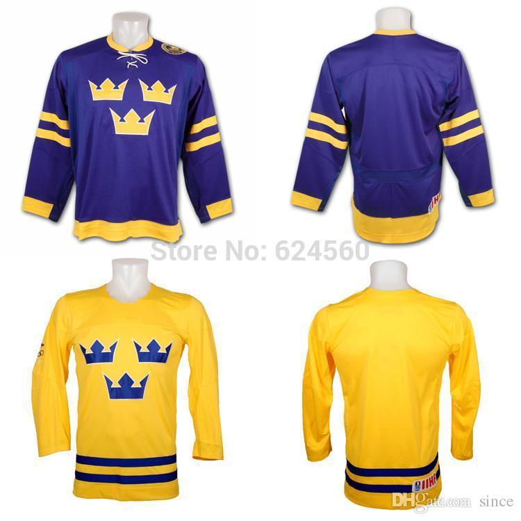 2016 Novo, mens / kids Suécia Equipe hóquei jersey Barato china Camisas de Hóquei No Gelo costurar qualquer nome / NÃO. Ou em branco flamengo camisas de hóquei barato