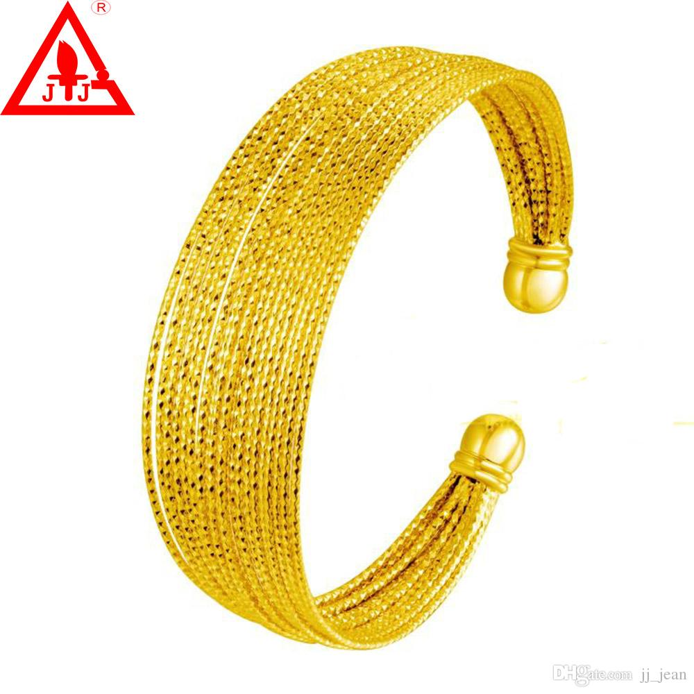 24K Yellow Gold Plated Bangles High Quality For Women Men New Style Lines Hot Sale Luxury Wedding Dressed Fine Jewelry Free shipping