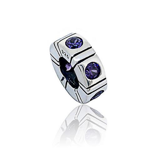 新しい100%S925スターリングシルバースペーサーチャームビーズ紫色のCZフィットヨーロッパのPandoraジュエリーブレスレットネックレスペンダント