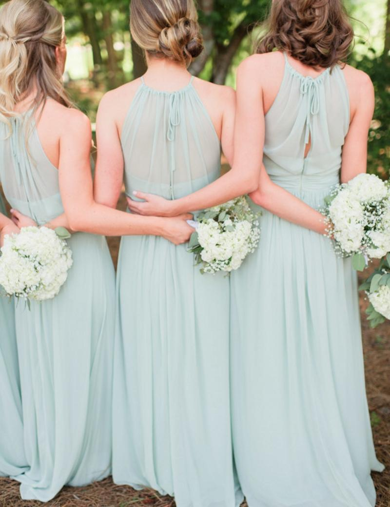 Flowing Mint Green Bridesmaid Dresses Halter Long Floor Length ...