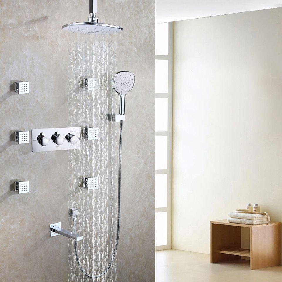 Witte badkamer douchekraan set regen chroom bad douchekop bad douche badkamer producten warm en koud water mixer Tap