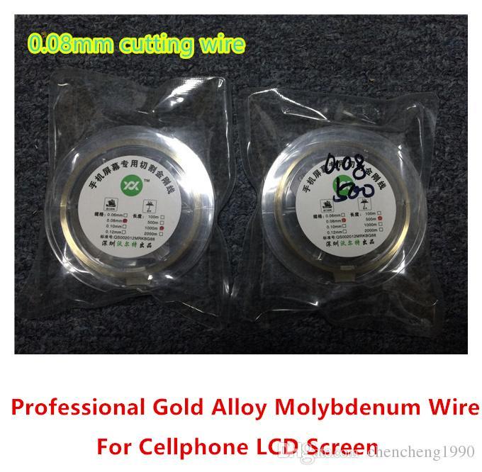 Alta qualità nuova linea di taglio filo / filo di molibdeno oro 0.08MM per Iphone 4 / 4s / 5 6 6S Samsung S4 / S3 vetro separatore ristrutturare riparazione della macchina