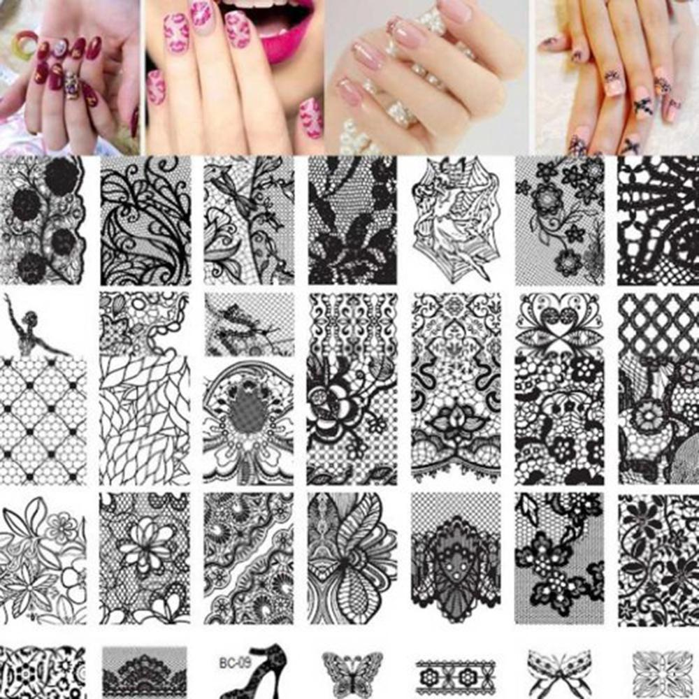 10 pcs Novo Retângulo de Aço Inoxidável Manicure Template Nail Art Impressão Polonês Selo Imagem Placa de Rendas Padrão
