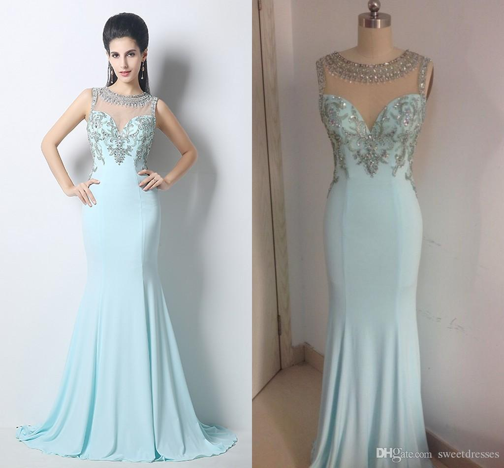 High Neck 2016 Cheap Prom Dresses Sky Blue Mermaid Formal Celebrity ...