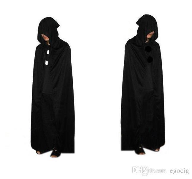 2015 HOT Halloween Costume Theater Prop Death Hoody Cloak Devil Long Tippet Cape Black Free FedEx DHL