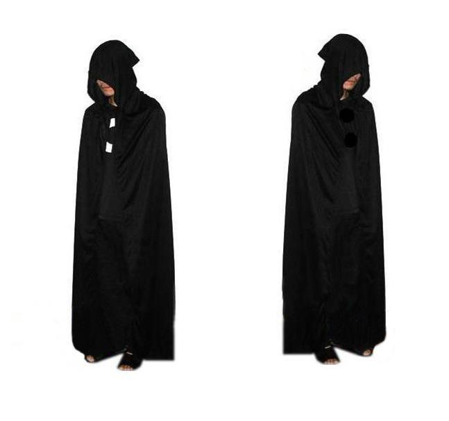 2015 SıCAK Cadılar Bayramı Kostüm Tiyatro Prop Ölüm Kapüşonlu Pelerin Şeytan Uzun Tippet Cape Siyah Ücretsiz FedEx DHL