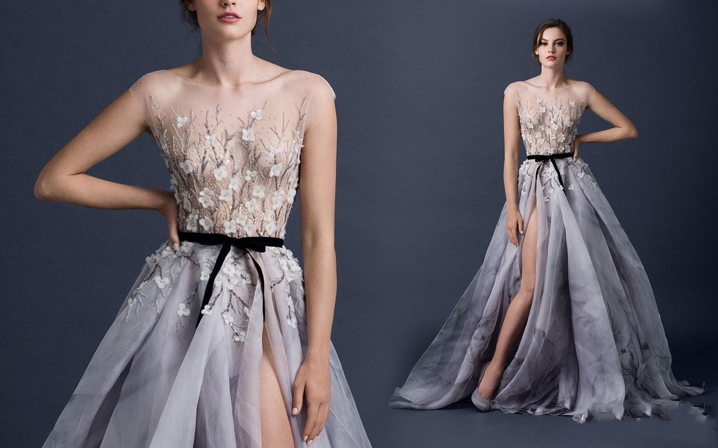 Romantyczny Sheer Aplikacja Cekina Bling Suknie Wieczorowe 2015 Załoga Hollow Powrót Linia Długość Podłoga Side Split Związany Sash Bow Fioletowa Suknia Wieczorowa
