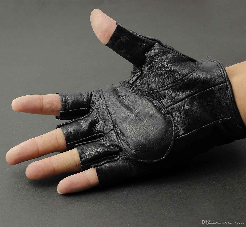 Real Leather Skull Punk Rocker Driving Motorcycle Biker Men Fingerless Gloves G1