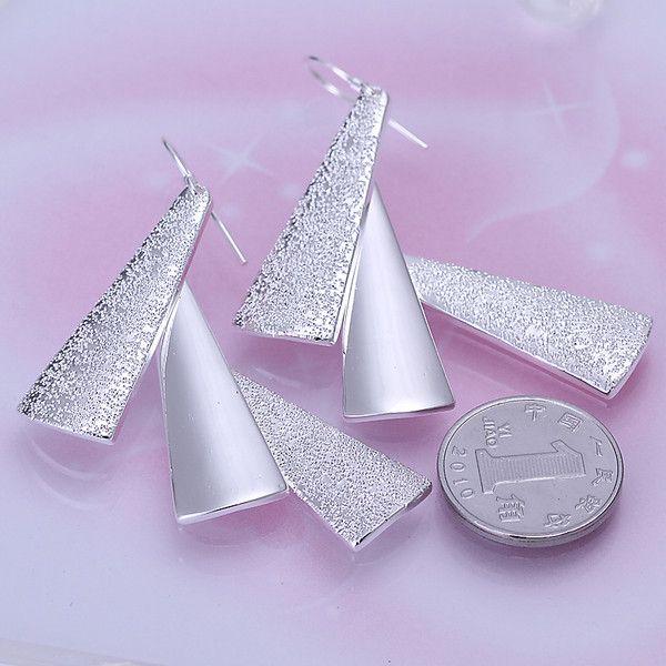 Brand new sterling silver plate Three earrings DFMSE015,women's 925 silver Dangle Chandelier earrings 10 pairs a lot