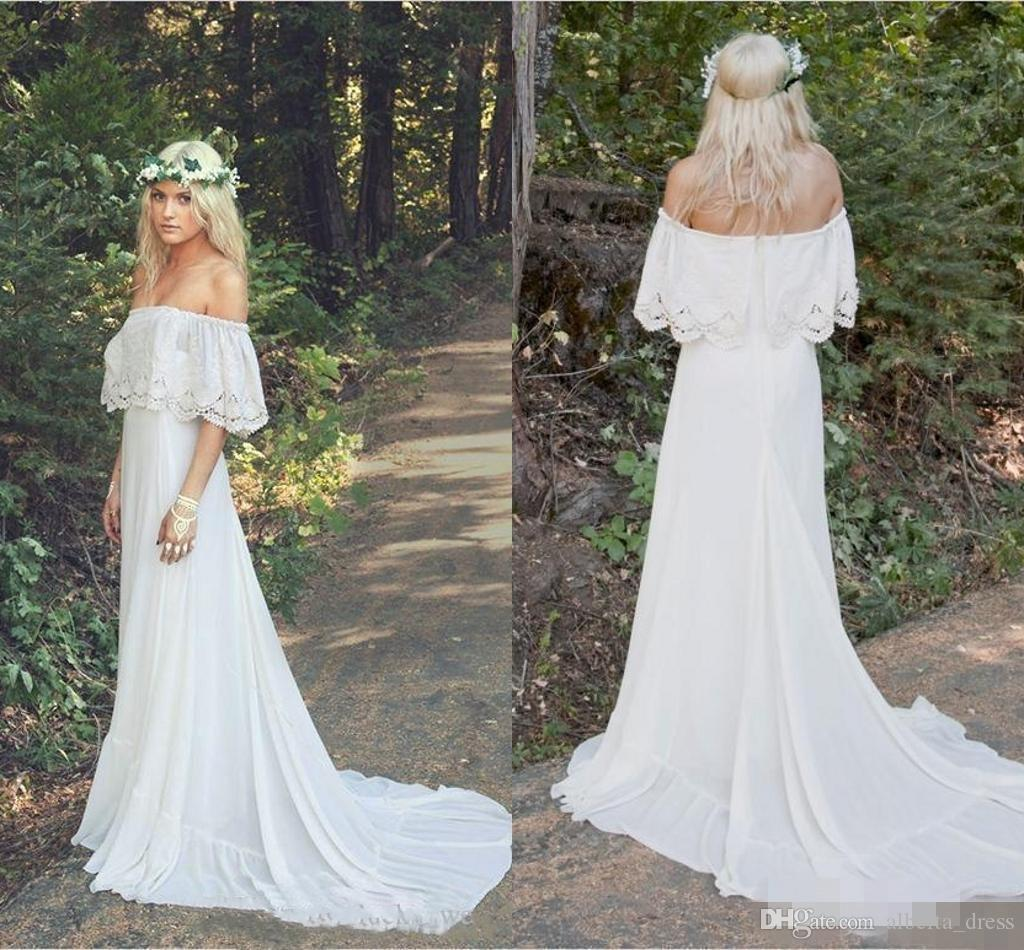 Discount 2019 New Arrival Lace Chiffon Bohemian Wedding Dresses Off  Shoulder Plus Size Cheap Beach Boho Hippie Sweep Train Bridal Wedding Gowns  Plus ...