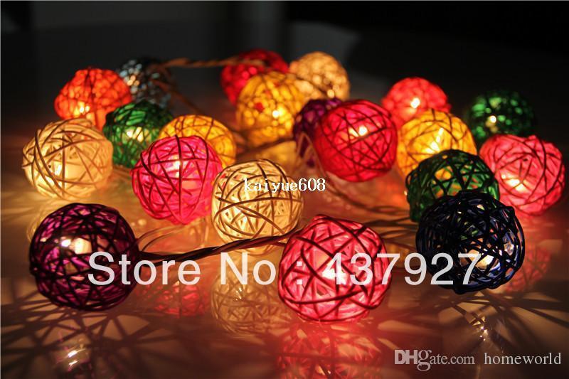 size 40 19dee ca4e0 2019 Hot!! 20 Lights Multi Color Rattan Ball Bedroom Decor Brand Set Patio  Party String Fairy Lights Wedding Home Xmas Decoration Bar From Homeworld,  ...