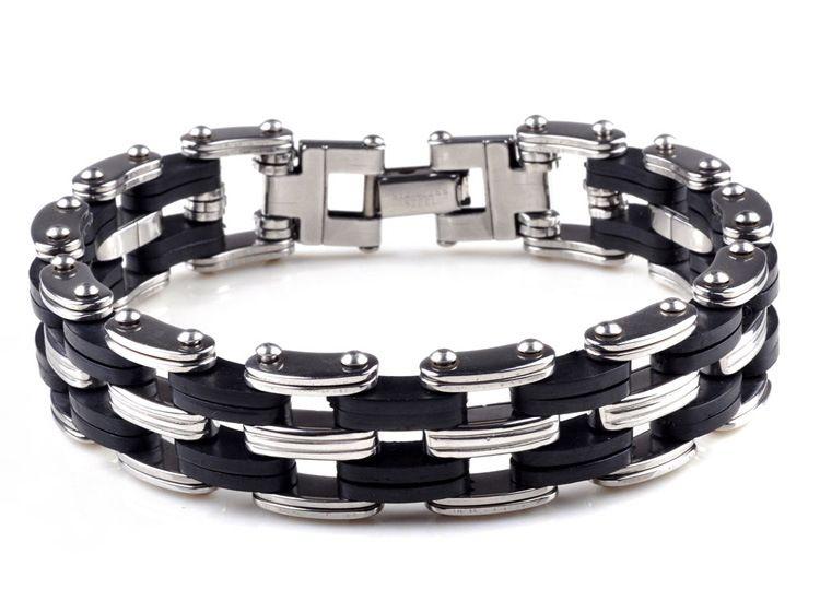 Noir Style Punk En Acier Inoxydable En Silicone Pour Hommes Bracelet Lien Chaîne Biker Bicyclette Bracelets Hommes Bijoux Bracelet D258L