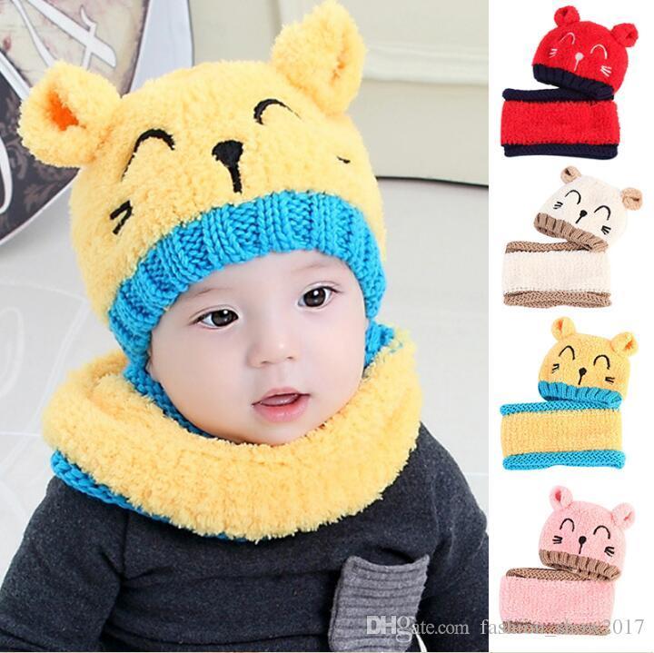 Winter Wool Hats Thickened Warm Woolen Hat Children Plus Cashmere Baby Winter Warm Hat Scarf Two-Piece Boy Girl Bib Cap