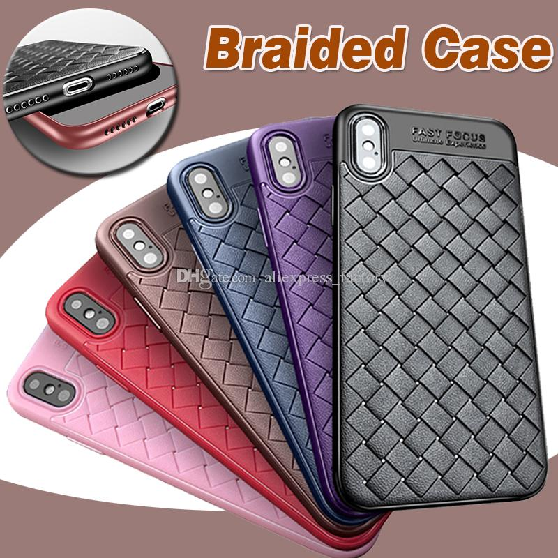 New Design Braided Pattern Case Soft TPU Silicone luxury Striae Imitation Anti-shock Protection Cover For iPhone XS Max XR X 8 7 6 6S Plus