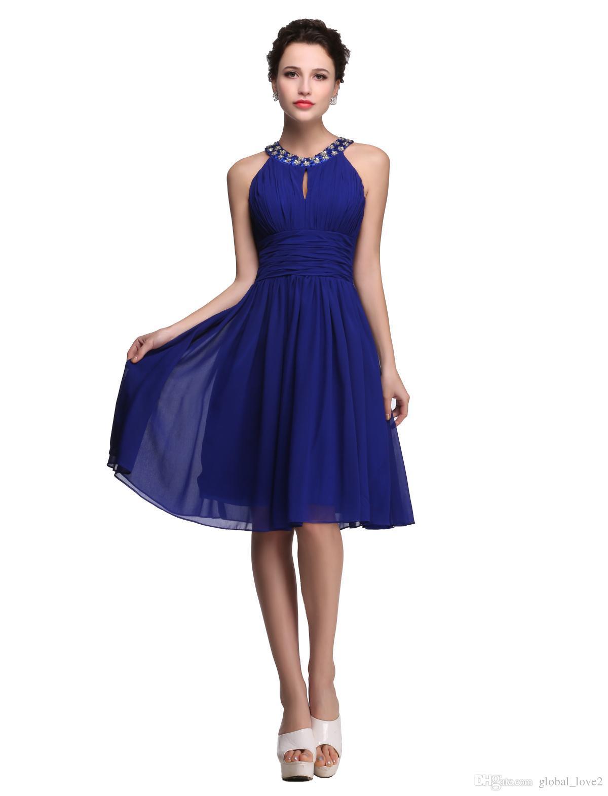 2017 New Royal Blue Prom Dresses Girls Party Dresses Knee Length ...