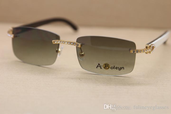 Freies Verschiffen echtes natürliches Büffelhorn Weiß innen Schwarz Randlos 8200757 Sonnenbrille große Diamant-Sonnenbrille Rahmengröße: 56-18-140mm