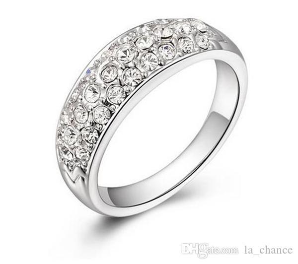 새로운 도착 럭셔리 오스트리아 크리스탈 실버 반지 925 스털링 실버 전체 빛나는 다이아몬드 무료 배송 다양한 크기