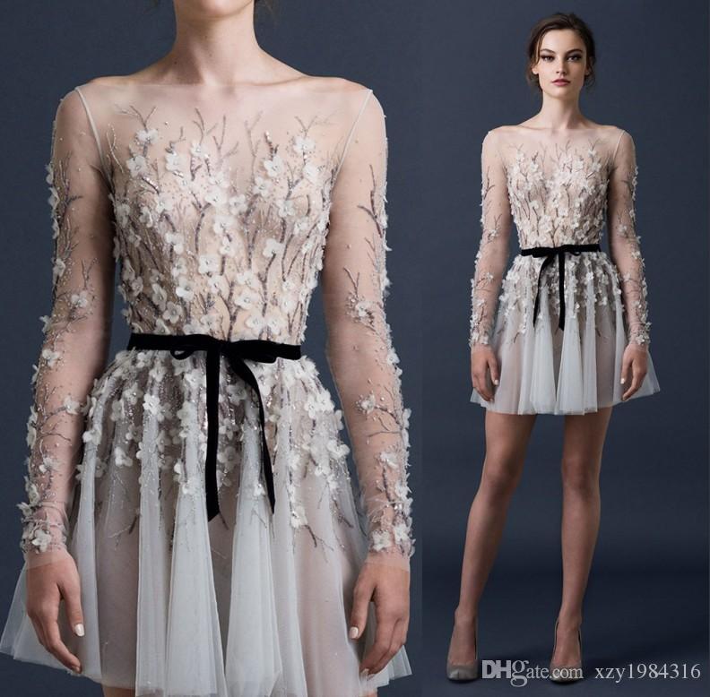 Paolo Sebastian court Robes de soirée perles Paillettes Fleurs ruché Appliques Robes de bal 2015 à manches longues Sheer sexy robes de soirée de