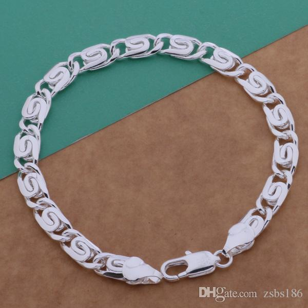 Global Hot Top quality 925 sterling silver plated chain bracelet 6MMX20CM cool fashion Men's Jewelry Factory price free shipping