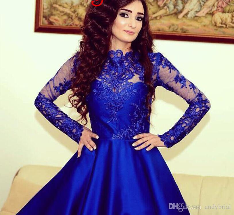 Compre Royal Blue Corto Encaje Vestidos Vestidos De Cóctel Para Las ...