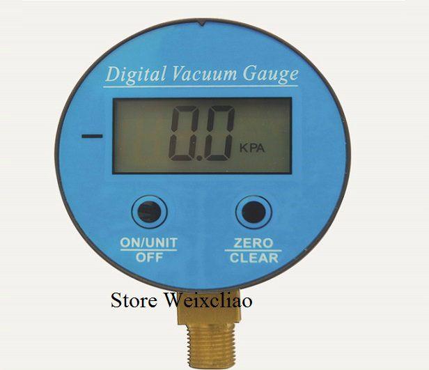 Digital Vacuum Gauge Pressure Gauge Battery Powered Digital LCD Display Manometer G1/4 -100KPa-0 Free Shipping