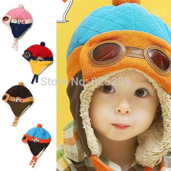 Hot sales Toddlers Cool Baby Boy Girl Kids Infant Winter Pilot Aviator Warm Cap Hat Beanie Drop Free Shipping