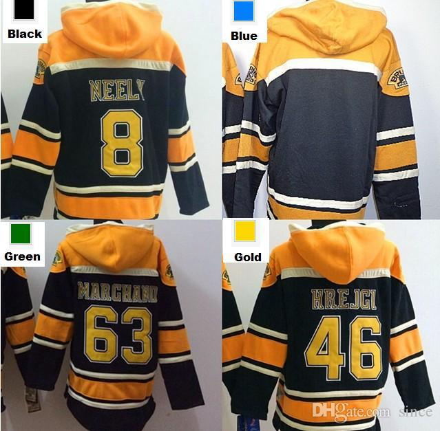2016, Mens Boston Hoodie 8 Cam Neely 46 David Krejci 63 Brad Marchand Blank Old Time Ice Hockey Jersey Hoodies Sweatshirt S-3XL CH