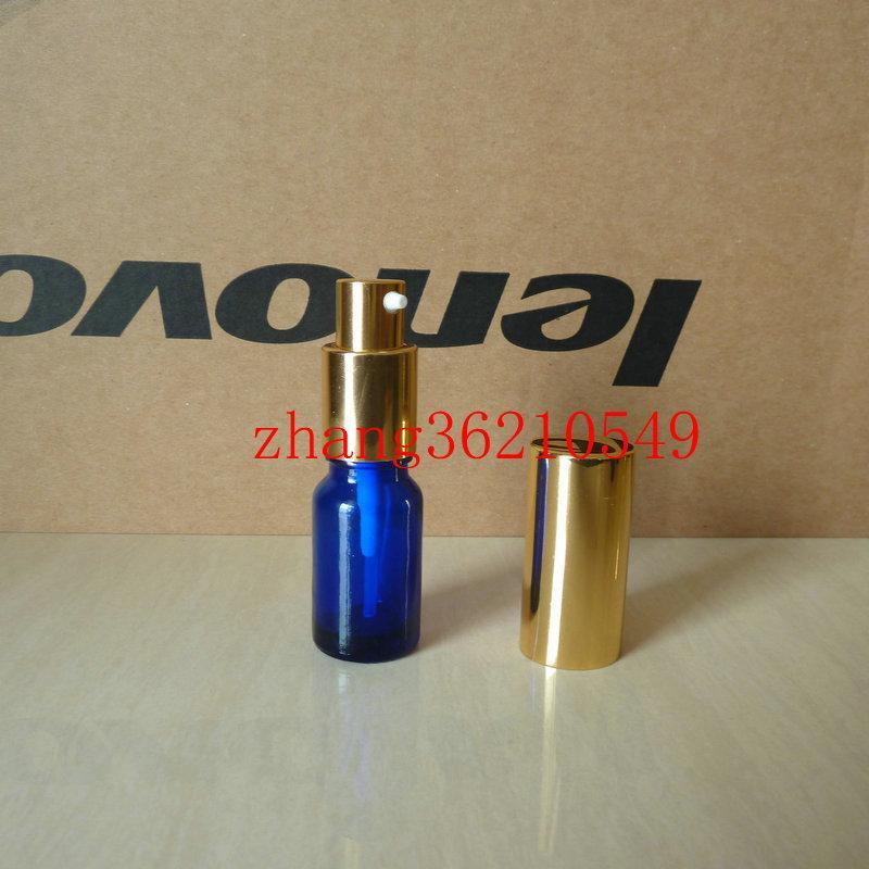 10ml 파란색 유리 로션 병 알루미늄 반짝 이는 골드 pump.for 로션과 에센셜 오일. 로션 크림 용기