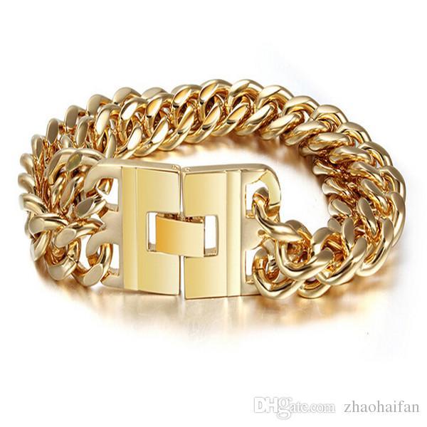 ZHF bijoux 91.7g titane acier bracelet en or rose plaqué or pour les hommes cadeaux de Saint-Valentin cadeau de Noël avec une belle boîte cadeau mari