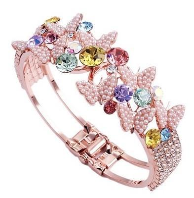 алмазный кристалл бабочка золотой женский браслет (myyhmz)