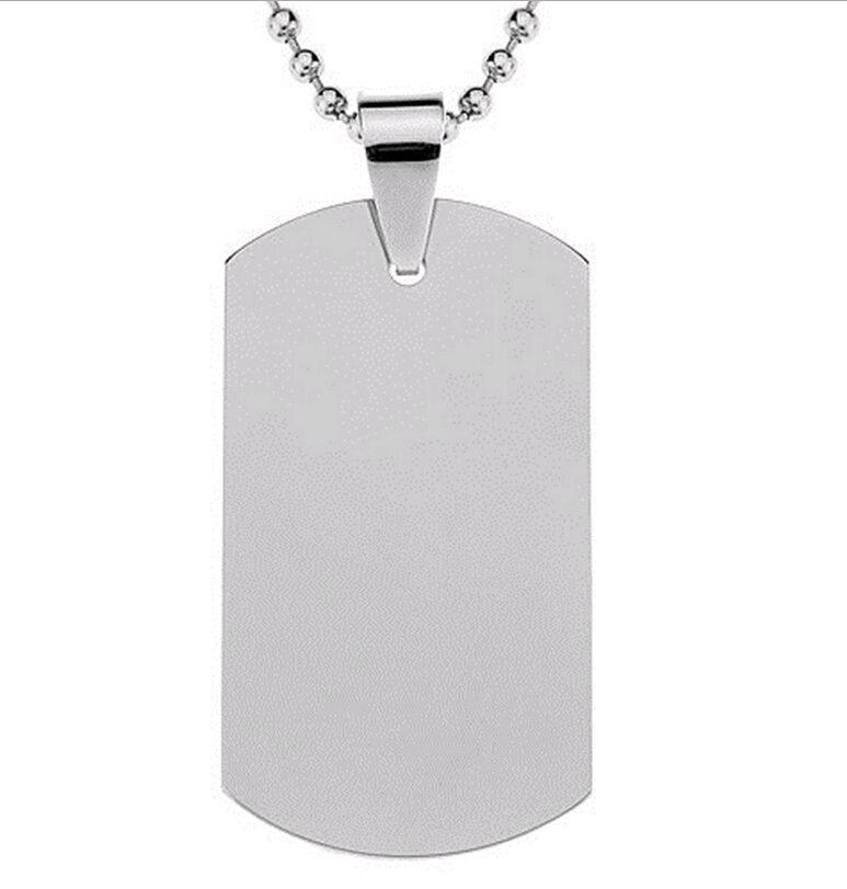 DHL Livraison gratuite Blank Engravable Dog Tag en acier inoxydable Forme militaire hommes Pendentif pour les garçons personnalisés 100 pcs / lot gros