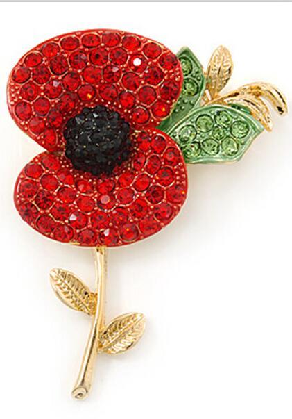 Royal British Legion Red Rhinestone Diamante Crystal Poppy Flower Brosch Pins RemeBrance Day Presenter