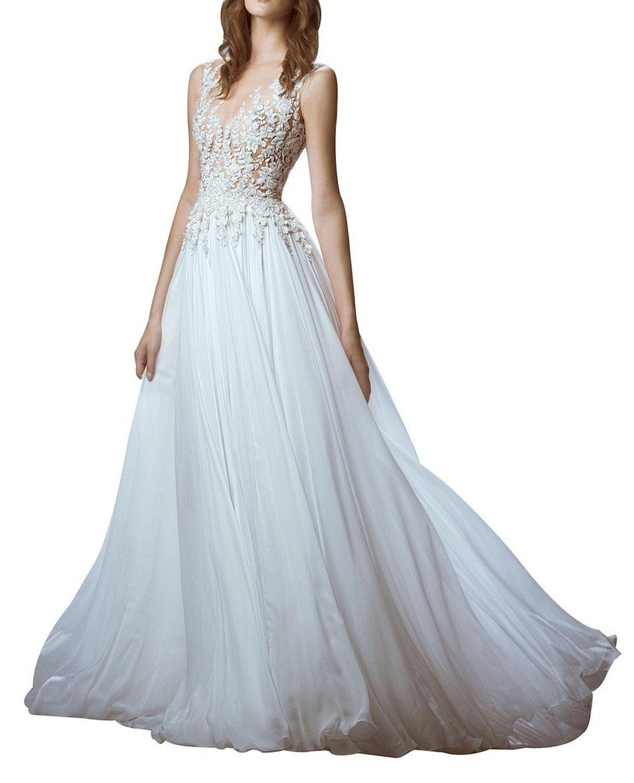 Discount 2016 Lace Applique Wedding Dresses Sheer Back Floor Length ...