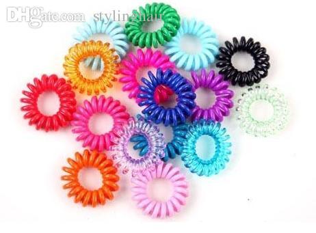 Wholesale-100Pcs in un pacchetto elastico arcobaleno colorato cavo telefonico cavo capelli legami fascia corda Bobbles E715