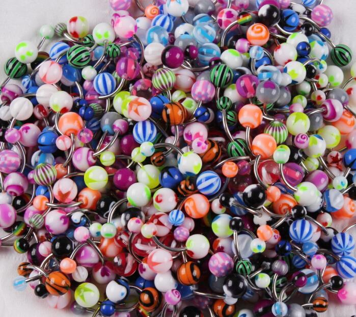 100PCS/lot Body Jewelry Piercing Eyebrow Navel Belly Tongue Lip Bar Rings Mixed Color