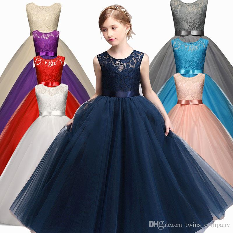 2019 Girl Party Wear Dress 2017 New Designs Kids Children Wedding Birthday  Dresses For Girls Baby Clothing Teenage Girl Clothes 6 14T From