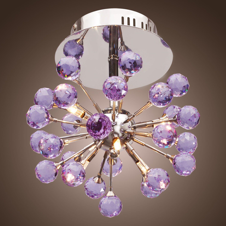 Modern 6-light Floral Shape K9 Crystal Ceiling Light-Purple, Mini Style Flush Mount, Chandeliers for Kids Room, Bedroom, Living Room