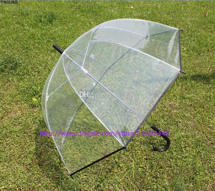20pcs Apollo fashion pretty clear umbrella transparent colorful trim Dome shape , 5 colors free DHL ship