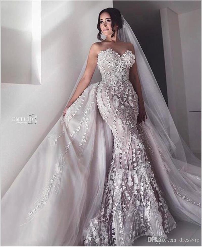 Sweetheart Plus Size Mermaid Wedding Dresses With Detachable Train Lace 3D Floral Applique Beach Wedding Dress Sweep Train Sexy Bridal Dres