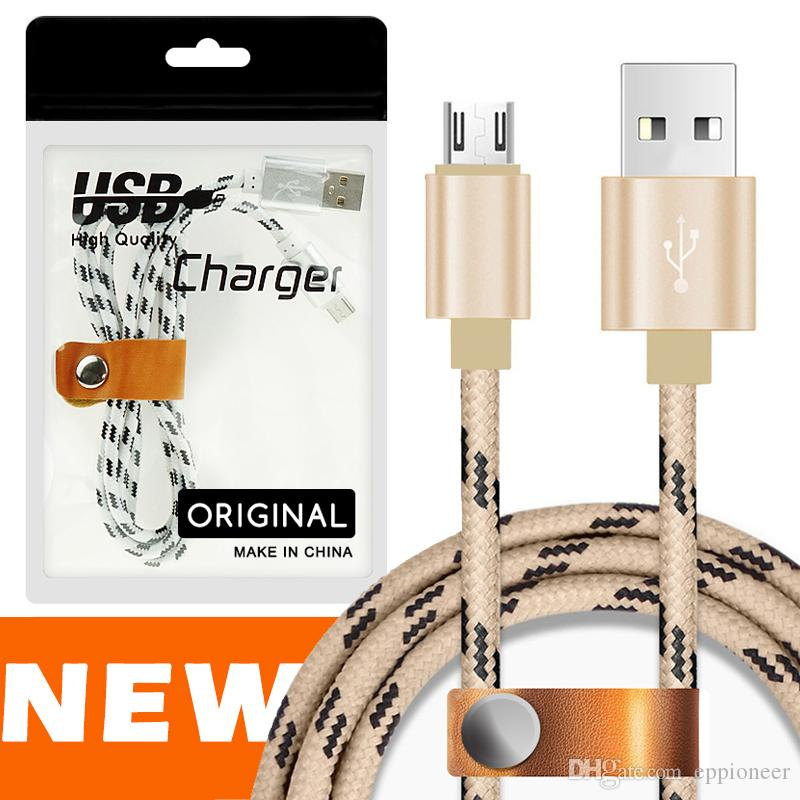 1M/2M/3M Micro USB TYPE C Charging Cable Nylon Braided High Speed USB Charger CABLE 3.3ft 1M for Android Samsung Nexus HUAWEI WITH BAGES