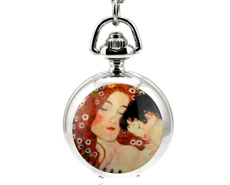 뜨거운 판매 독특한 디자인 디자인 에나멜 어머니와 아들 화이트 스틸 플립 시계 펜던트 목걸이 회중 시계