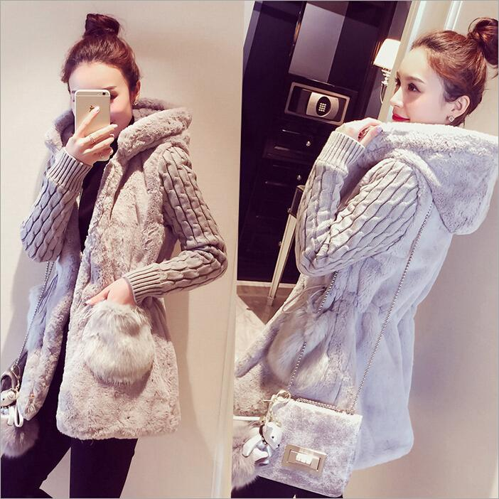 2015 Fall and Winter Coat Wool Female Clothes New Classic Fashion Knit Stitching Plush Thick Hooded jacket Women Sweater Cashmere Coats