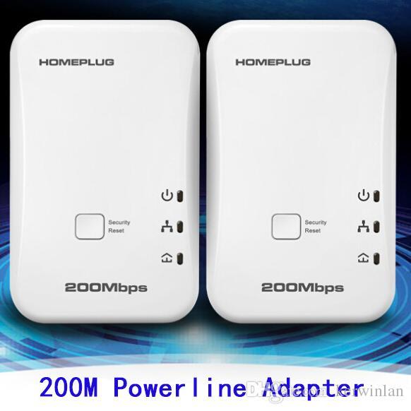 2pcs / lot 200Mbps Powerline adaptador de red de montaje en red de red Homeplug Adaptador eléctrico adaptadores de red de comunicación señales estables rápidas