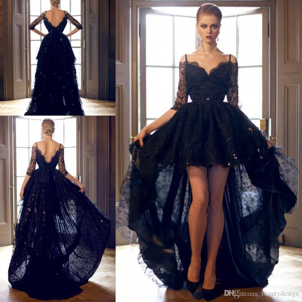 Barato 2019 Black Lace Black Tang Webs Long V Cuello Media Manga High Low Low Longitud Lentejuelas Lentejuelas Vestido Vestido Vestido Prom
