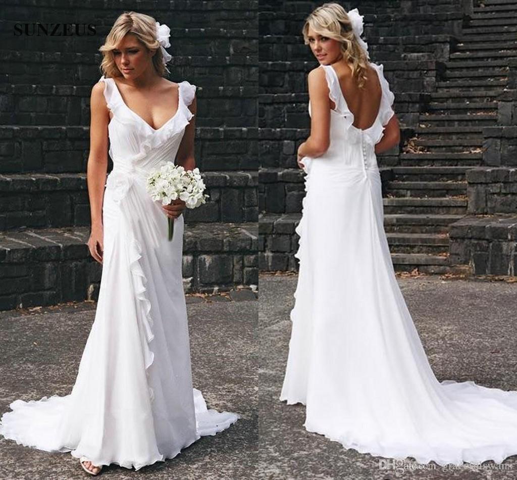 Vinatge Long Chiffon Wedding Dresses With Ruffles V-neck Low Back Sweep Train Beach Bridal Gowns 2019 Free Shipping