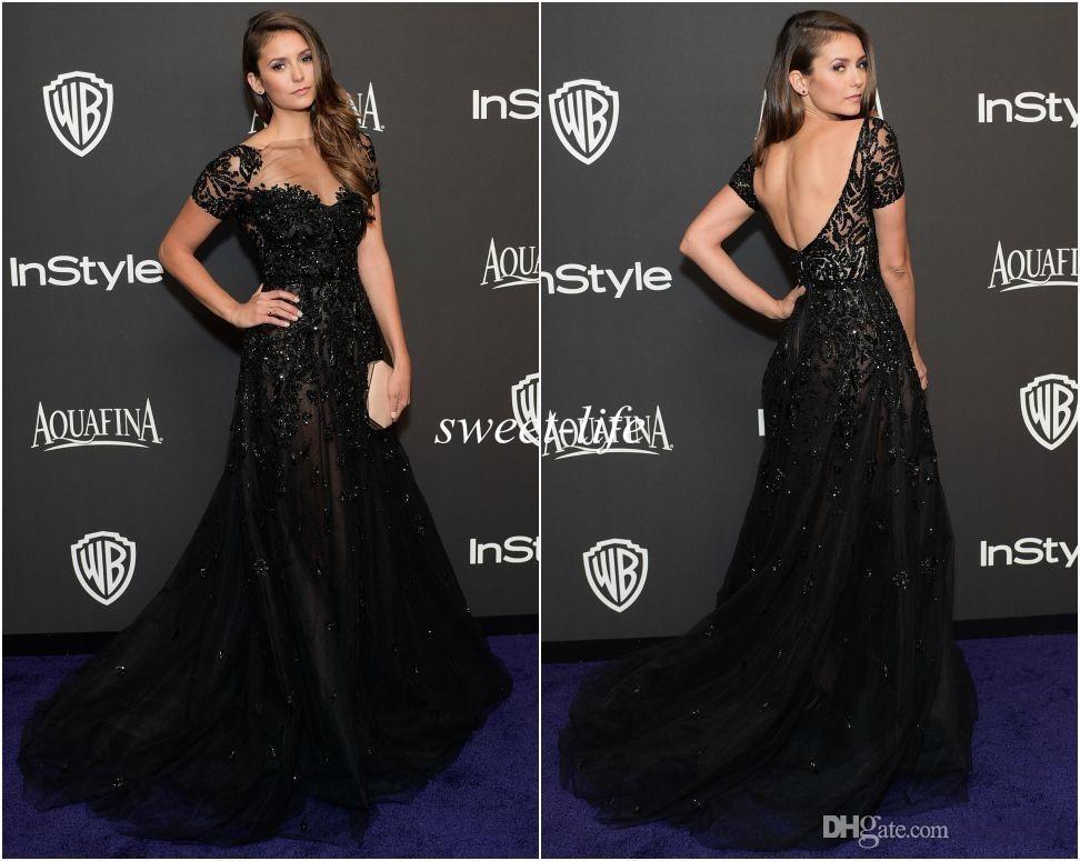 2019 Elie Saab Vestidos de Noite de Manga Curta Ilusão Decote Beading Sereia Preto Nina Dobrev Ouro Red Carpet Celebrity Dress Prom Vestidos