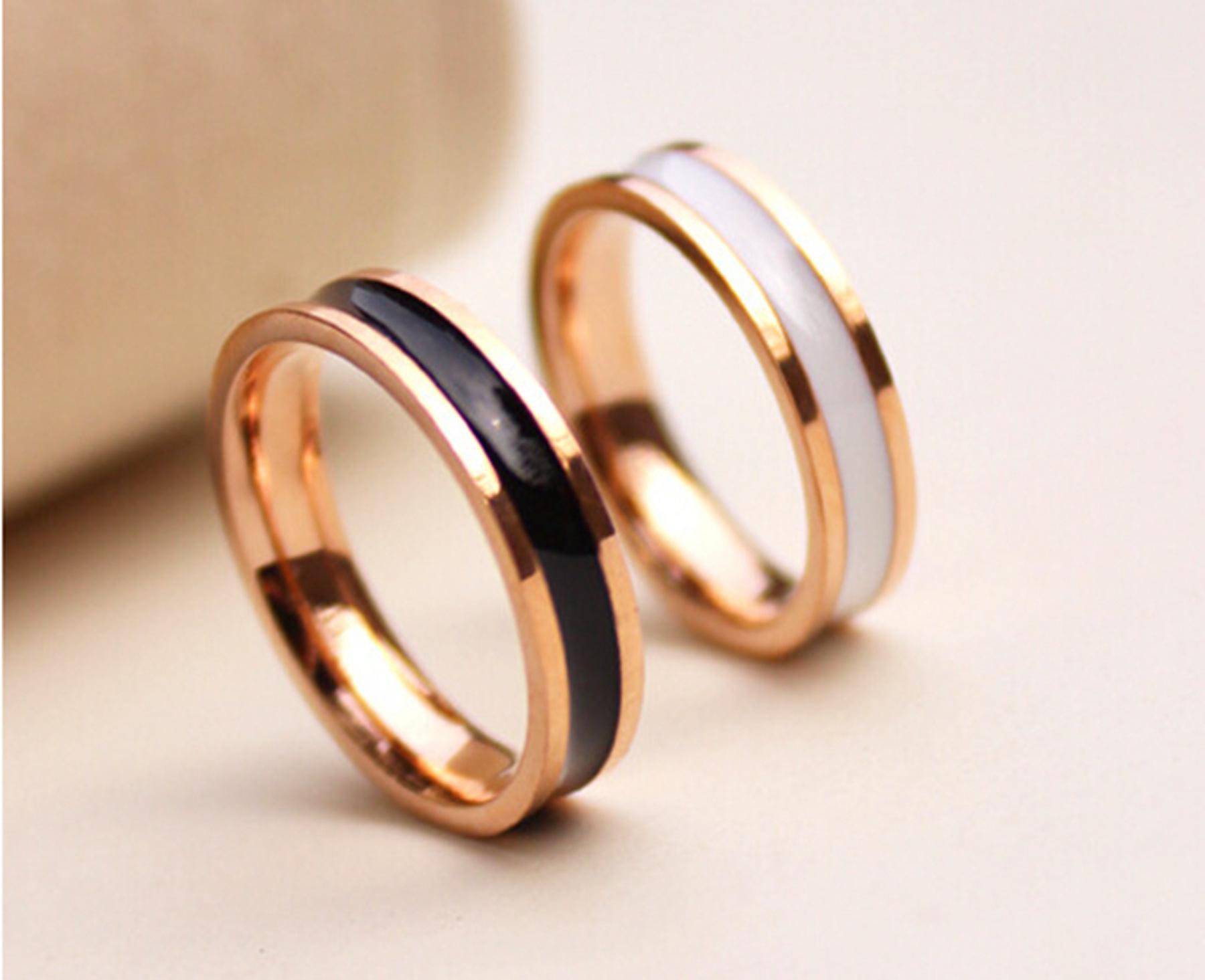 18K Roes gold Fashion Rings Little finger Rings Black White drop ...