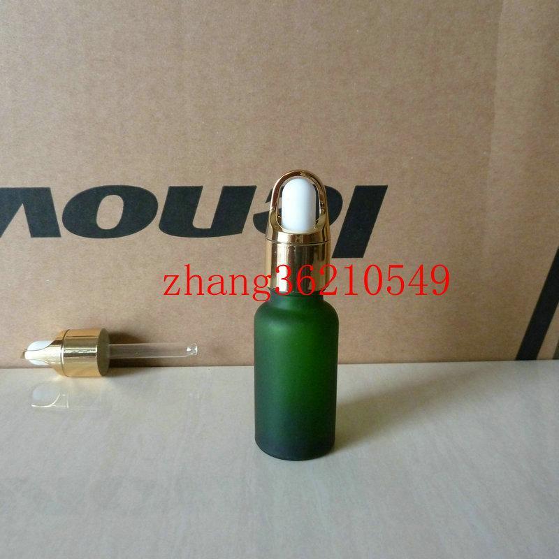 20ml 녹색 서리로 덥은 유리 에센셜 오일 병 알루미늄 바구니 빛나는 골드 dropper cap. 오일 바이알, 에센셜 오일 팩