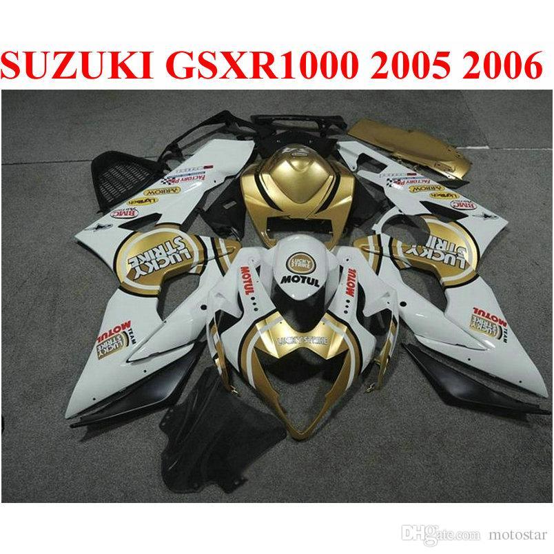 تخصيص قطع غيار الدراجات النارية لسوزوكي GSXR1000 2005 2006 fairing kit K5 K6 05 06 GSXR 1000 ذهبية LUCKY STRIKE fairings set EF70
